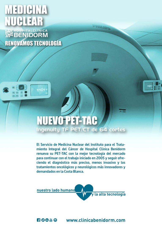 Imagen informativa del nuevo PET-TAC de Medicina Nuclear de Hospital Clínica Benidorm (HCB)