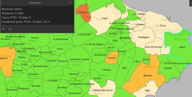 Imagen: Incidencia acumulada en Xàbia
