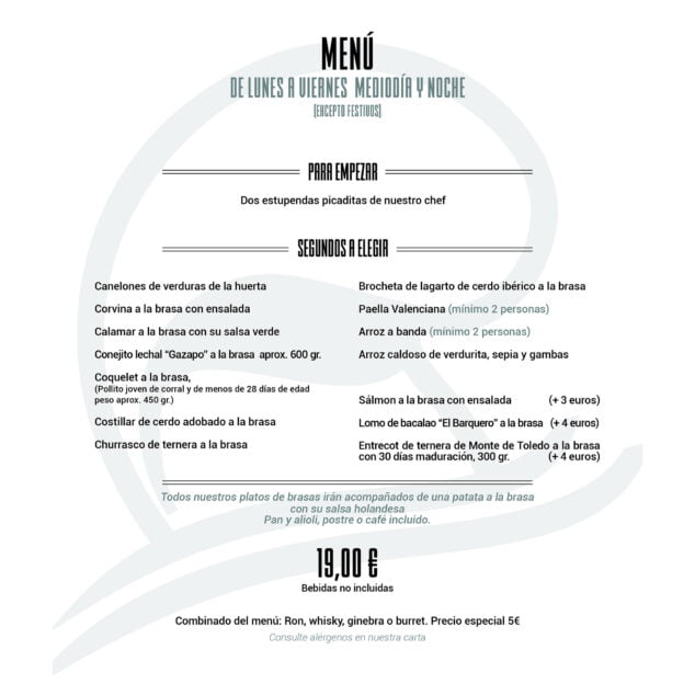 Imagen: Nuevo menú de Restaurante Noray