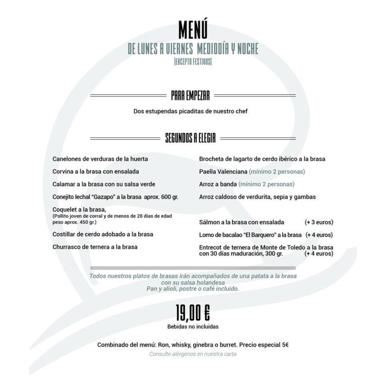Nuevo menú de Restaurante Noray