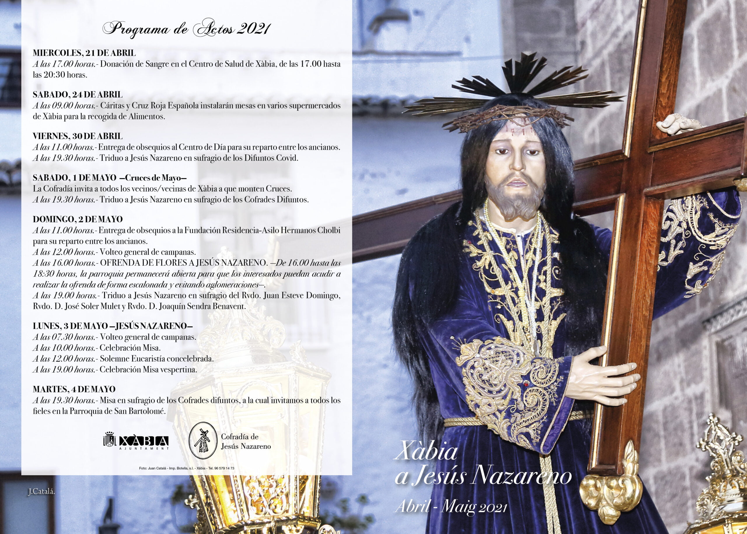 Programación de actos en honor a Jesús Nazareno