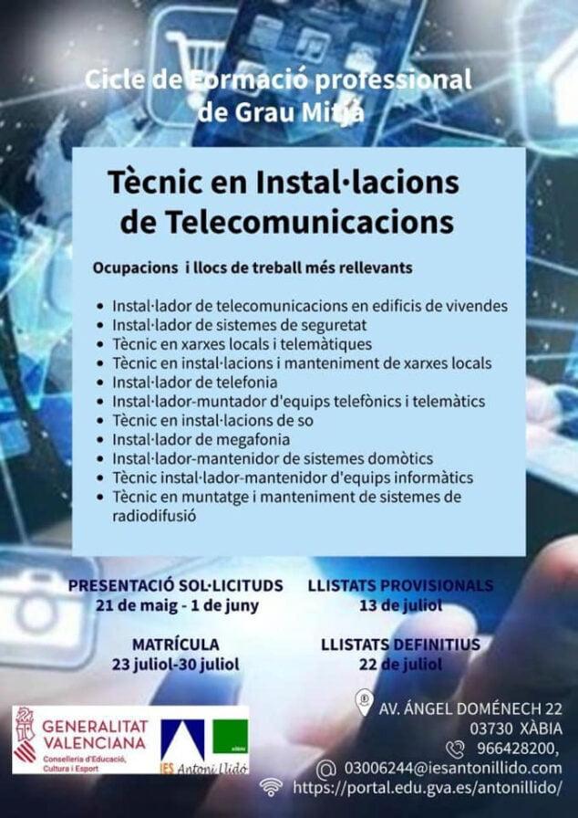 Imagen: Información del nuevo ciclo formativo del IES Antoni Llidó
