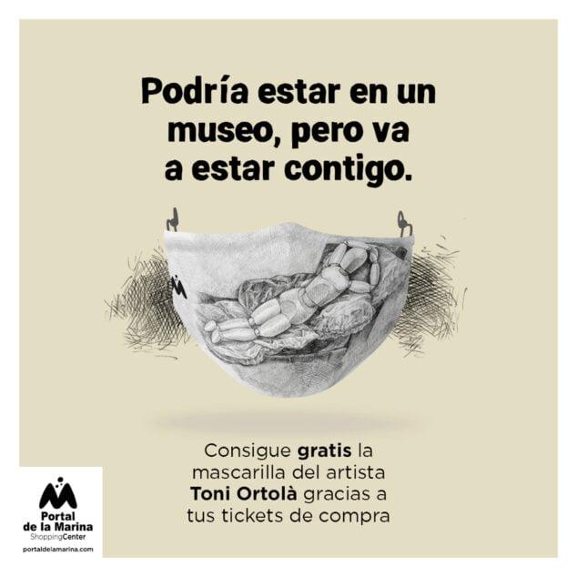 Imagen: Mascarilla de Toni Ortolà, creada por el artista 'ratlla a ratlla' para Portal de la Marina