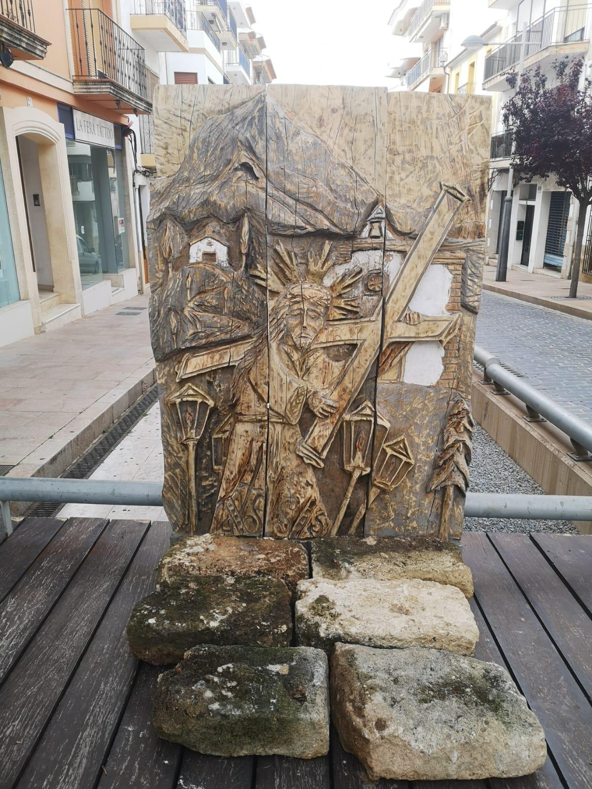 Tapiz de madera con la imagen de Jesús Nazareno