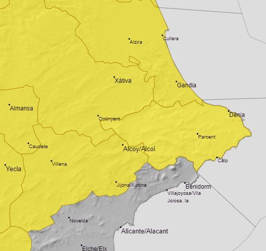 Imagen: Alerta amarilla por lluvia y granizo