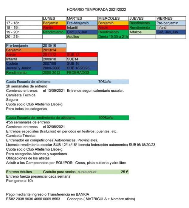 Imagen: Calendario de entrenamiento de la Escuela de Atletismo Llebeig