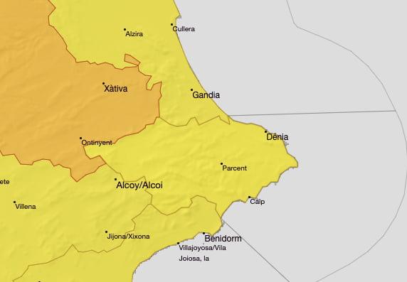Imagen: Alerta amarilla por altas temperaturas Marina Alta