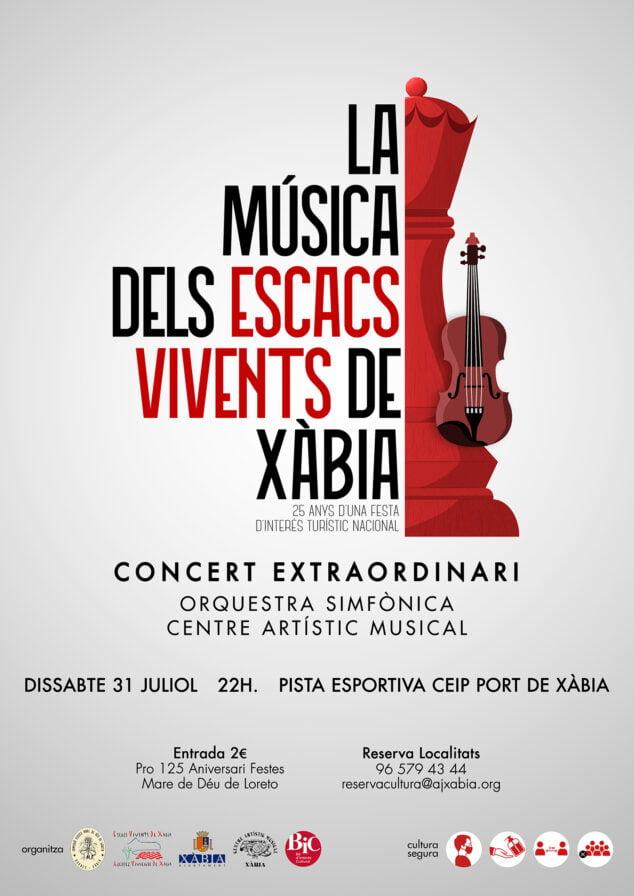 Imagen: Cartel del concierto conmemorativo del XV Escacs Vivents Xàbia