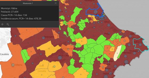 Imagen: Datos situación COVID Xàbia