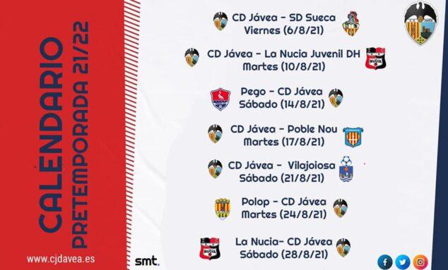 Imagen: Calendario pretemporada CD Jávea
