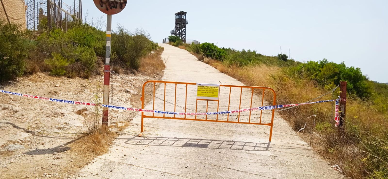 Restricción de paso en áreas forestales de Xàbia