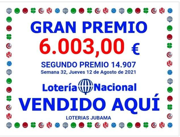 Imagen: Segundo premio de la loteria nacional