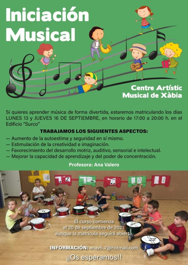 Imagen: Cartel informativo nuevo curso 2021-22 Iniciación Musical en el Centra Artístic Musical de Xàbia