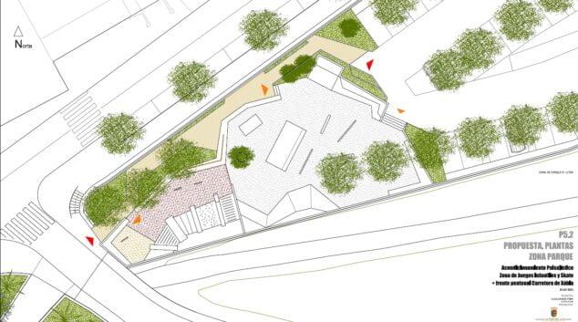 Imagen: Plano de la actuación en la zona del Skate Parc y entrada al municipio