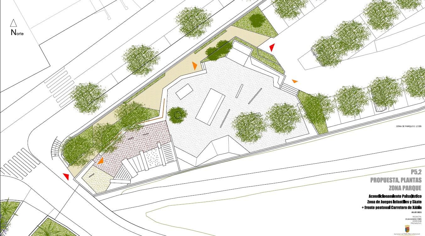 Plano de la actuación en la zona del Skate Parc y entrada al municipio