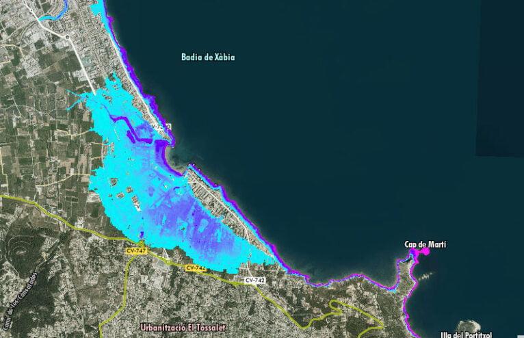 Posibles escenario de inundación en Xàbia