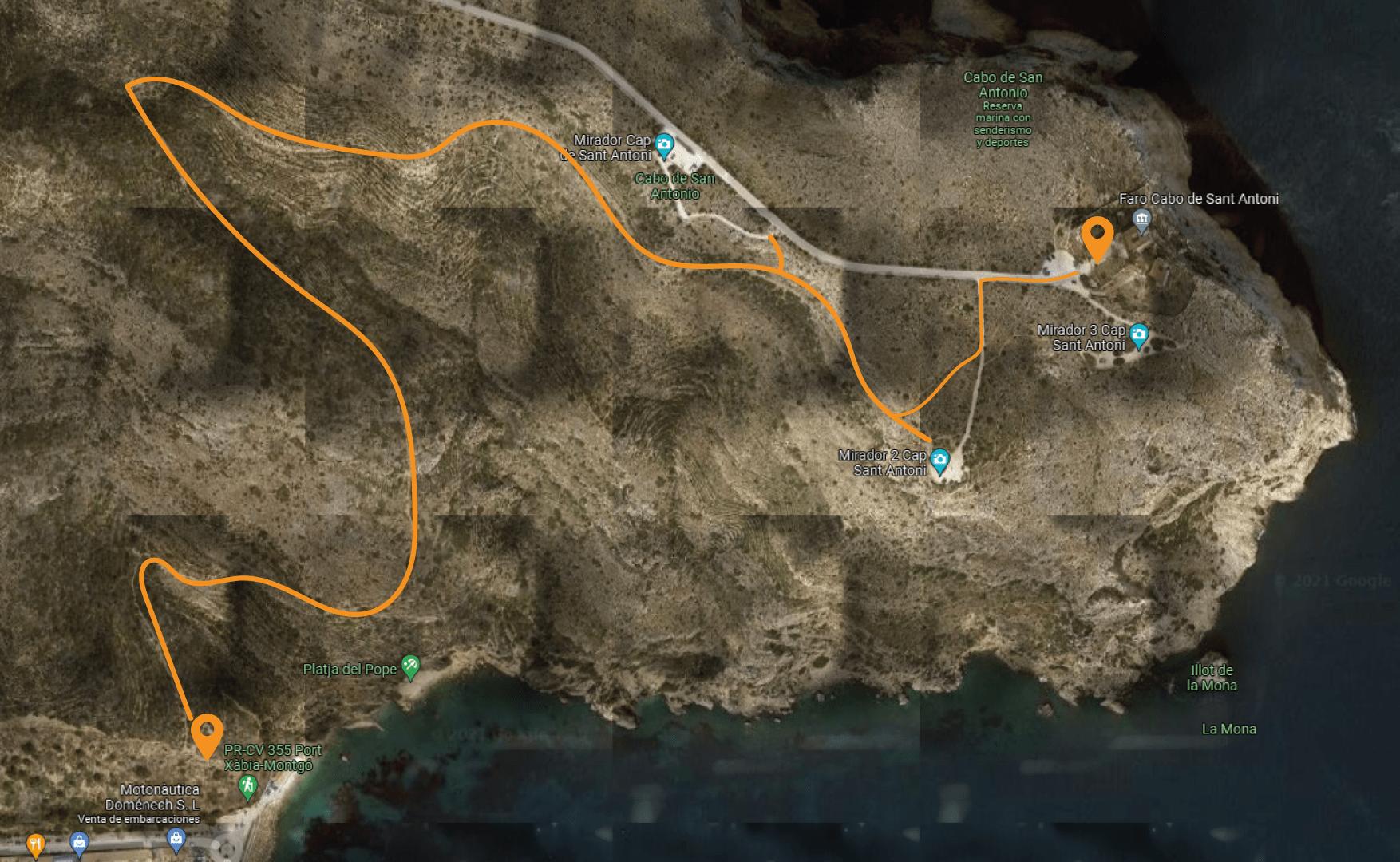 Ruta del Cabo de San Antonio a Cala del Tangó
