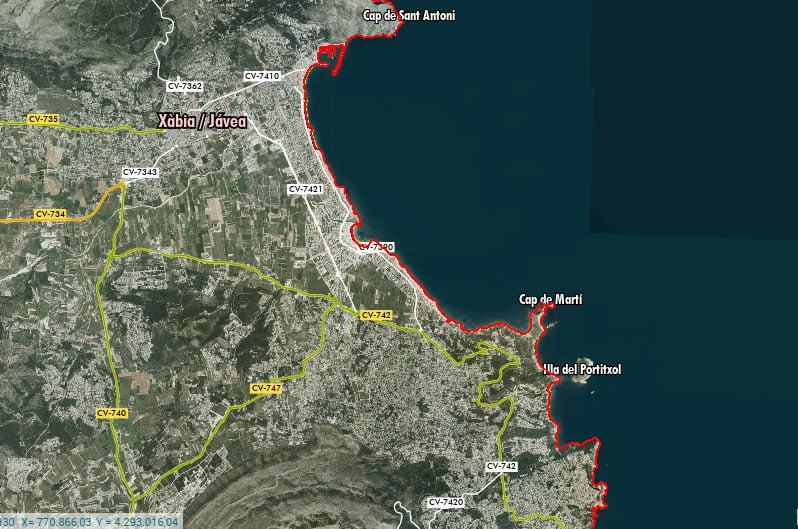 Visualización de la erosión en Xàbia