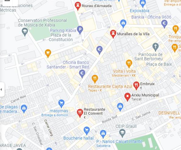 Mapa centro histórico Xàbia