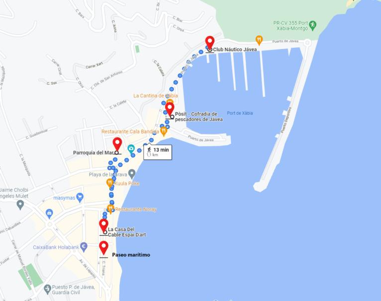 Mapa del recorrido de visita de Duanes de la Mar o puerto de Xàbia