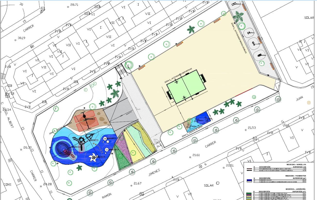 Plano del proyecto de remodelación del parque de Thiviers