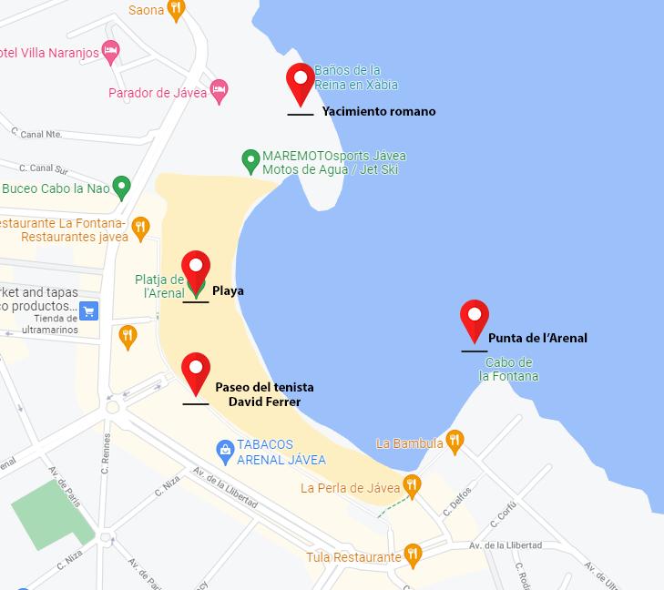 Puntos de visita del Arenal de Xàbia