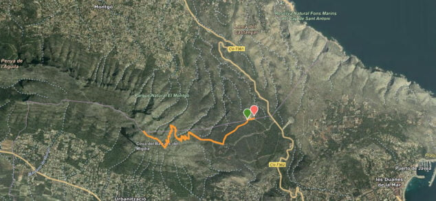 Imagen: Ruta al cima del Montgó desde el campo de tiro de Dénia
